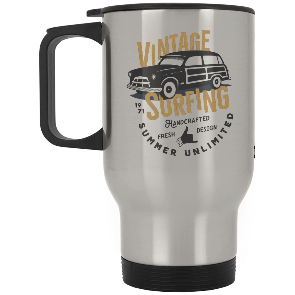 Vintage Surfing Summer Unlimited Silver Stainless Travel Mug