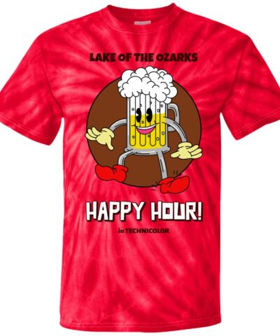 Happy Hour Lake of The Ozarks Funny Vintage Beer Cartoon 100% Cotton Tie Dye T-Shirt