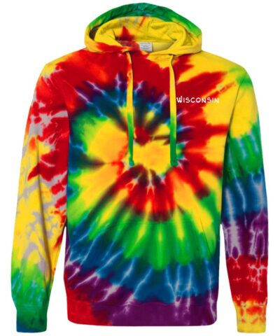 Wisconsin Embroidered Design Tie-Dyed Pullover Hoodie